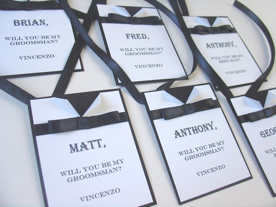 set of 4 Fancy Tags- Bowtie - Gift tag- Groomsman- Best Man- Personalized-Miniature- Will you be my