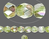 Crystal\/Peridot Green AB Czech Fire-Polished Glass two-tone 6mm faceted round 14 inch strand