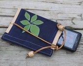 waxed canvas  iphone/droid cell phone clutch/case  with handcut leather applique & leather tie