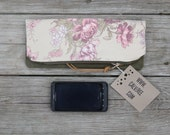 waxed canvas and floral cotton canvas zippered foldover clutch