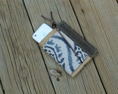 waxed canvas and ikat iphone/droid cell phone clutch/case