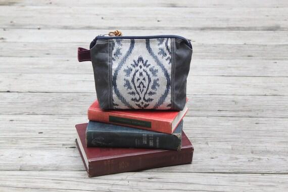 waxed canvas  zippered shaving kit make up bag color block