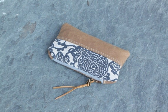 waxed canvas floral zippered purse/pouch/clutch with chrysanthemum floral & leather tie