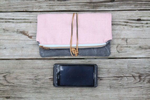 waxed canvas foldover zippered clutch pink with leather tie strap leaf and vine free hand stitched design