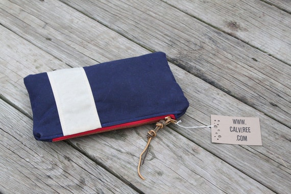 waxed canvas nautical striped zippered pouch utility bag
