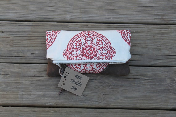 henna waxed canvas foldover clutch utility bag zippered purse mothers day wedding