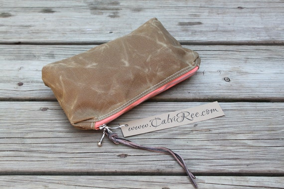 waxed canvas utility pouch make up case zippered purse