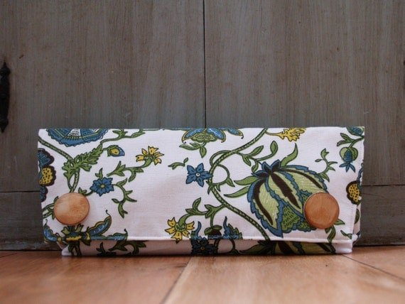 oversized clutch\/purse blue,yellow and green floral