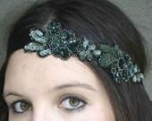 deep green beaded tie headband