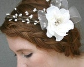 Woodland Bridal Wreath Double Arch, Harvest Wedding Hair Accessory, Wedding Flower Crown