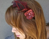 adult headbands, Red Feather Headband, Romance, women hair accessory