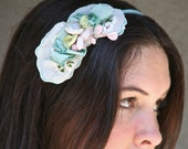 Headband from a vintage hankie with touches of pink