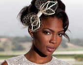 Modern wedding head piece, bridal bow on a comb with a vintage flair