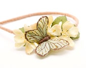 Custom butterfly headband with yellow flowers for Brittany