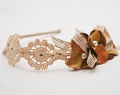 bulap and vintage lace flower headband for women and teens