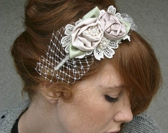 headbands for weddings, Rolled rose headband in pink and ivory with netting