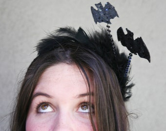 Costume Accessories Halloween Bat Headband, Halloween Costume Headband, Black Bat Adult or teen Halloween Headband