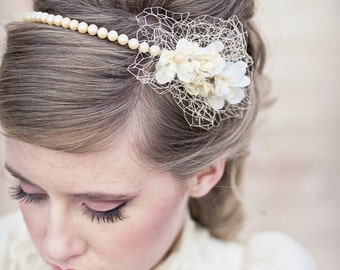 Wedding Hair Vintage Romance Pearl Headband or Wedding Tiara with Birdcage Netting, Pearl Wedding Headband, Vintage Bridal Headpiece