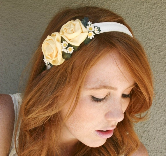 Sunny yellow rose and daisy headband