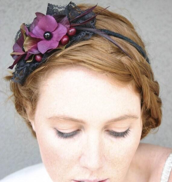 Sexy black lace and plum flower headband