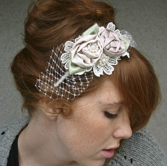 Wedding Headband of Roses and Lace, Rolled Rose Headband in Pink and Ivory with Netting Bridal Headpiece
