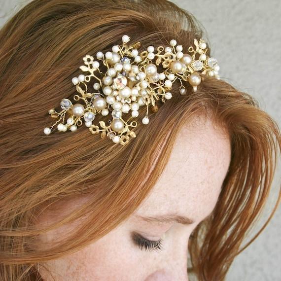 Wedding Tiara Headband Vintage Dream Golden Tiara Bridal Hair Wedding Accessory
