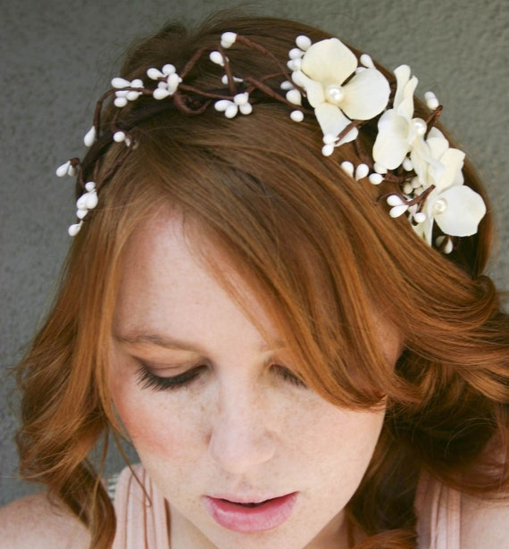 Bridal headband, floral and woods, headbands for weddings, woodland wedding Headband, Boho Weddings