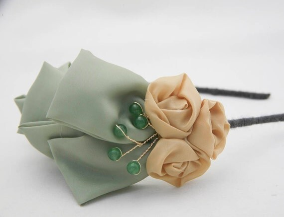 adult headbands, sage and mustard side bow