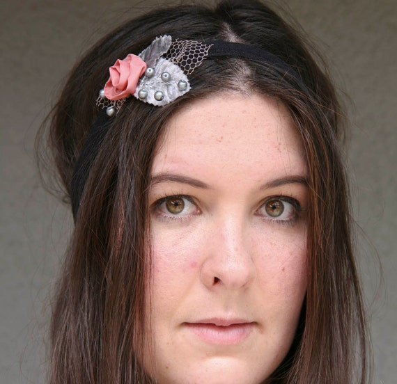 Clearance  SALE-coral rose elastic headband with gray velvet leaves