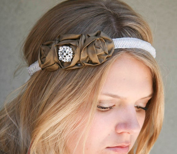 ON SALE NOW-Rose and beaded tie headband