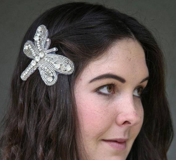 rhinestone dragonfly hair clip