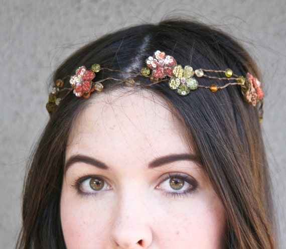boho wreath of wired beads with sequin flowers