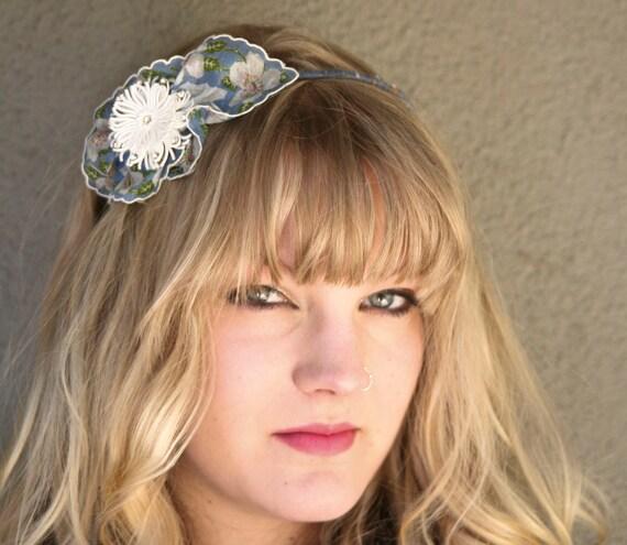 vintage hankie headband with vintage flower