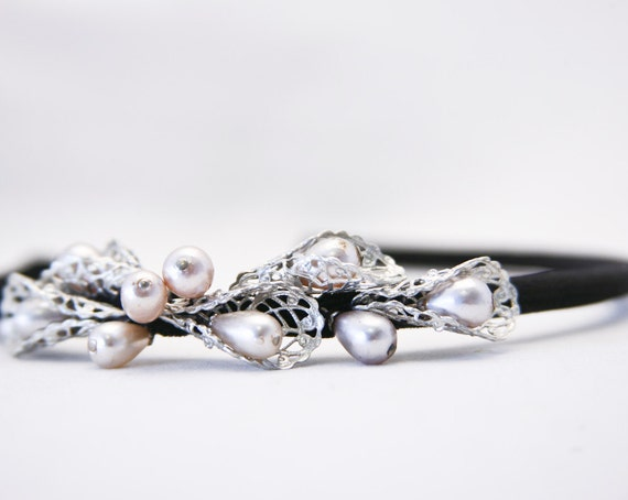 black velvert heaband with silver and vintage pearls, headbands for women