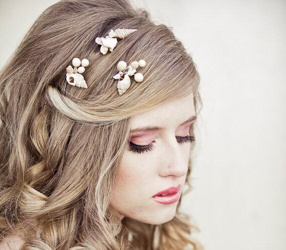 She Sells Sea Shells Wedding Hair Bobby Pin Set, Beach Wedding Hair Pins, Destenation Wedding Boho Weddings, Beach Hair Accessory