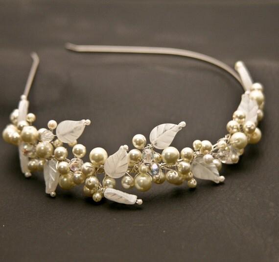wedding hair, wired pearl and vintage leaf tiara, for weddings