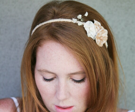 adult headbands, vintage velvet flower headband, headbands for women and teens