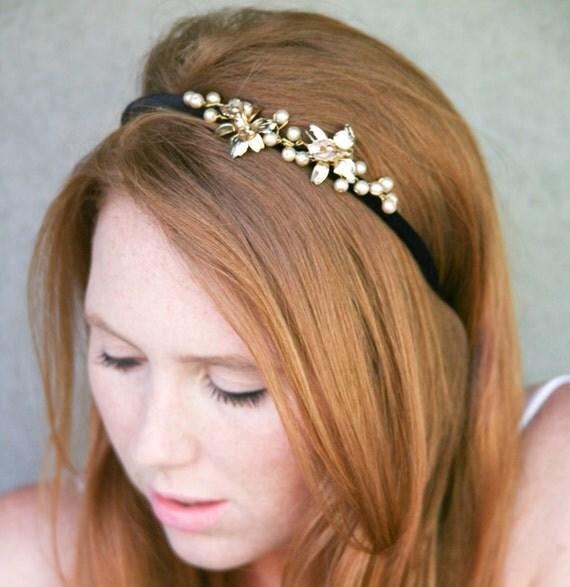 Adult Headbands Black Velvet Headband With Vintage Gold