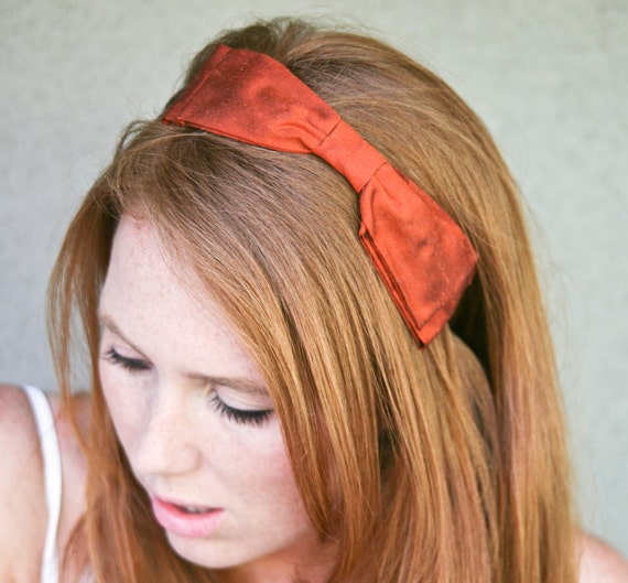 Holiday hair accessories, Double rust bow headband in silk shantung, women hair accessory