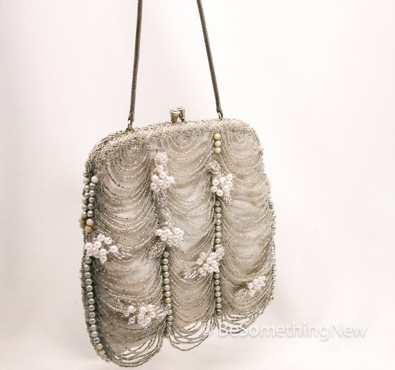 vintage up-cycled silver beaded purse