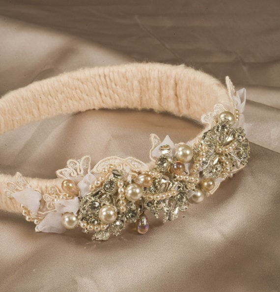 Vintage Metal, Pearls and Lace Collage Headband