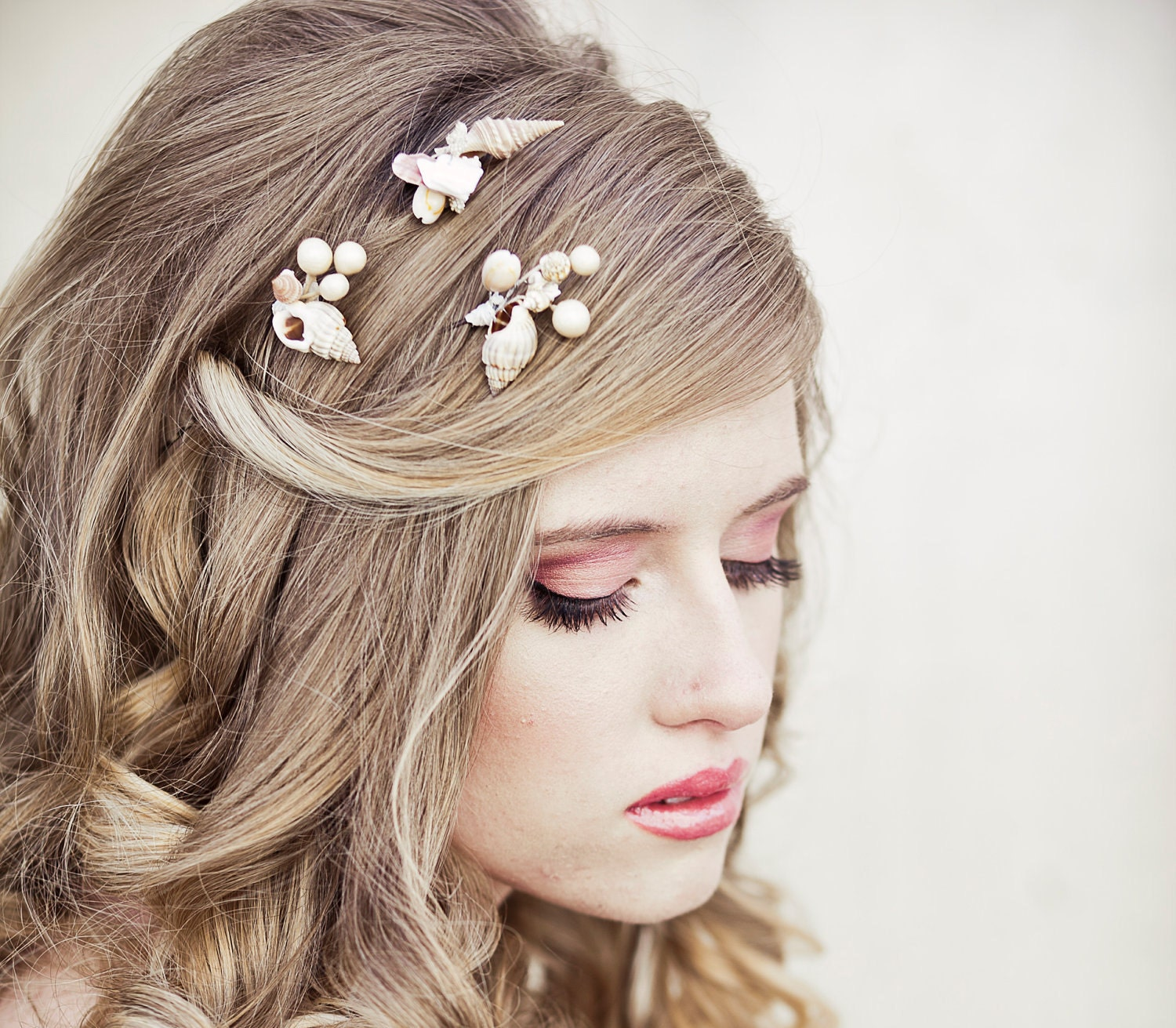 she sells sea shells wedding hair bobby pin set beach wedding