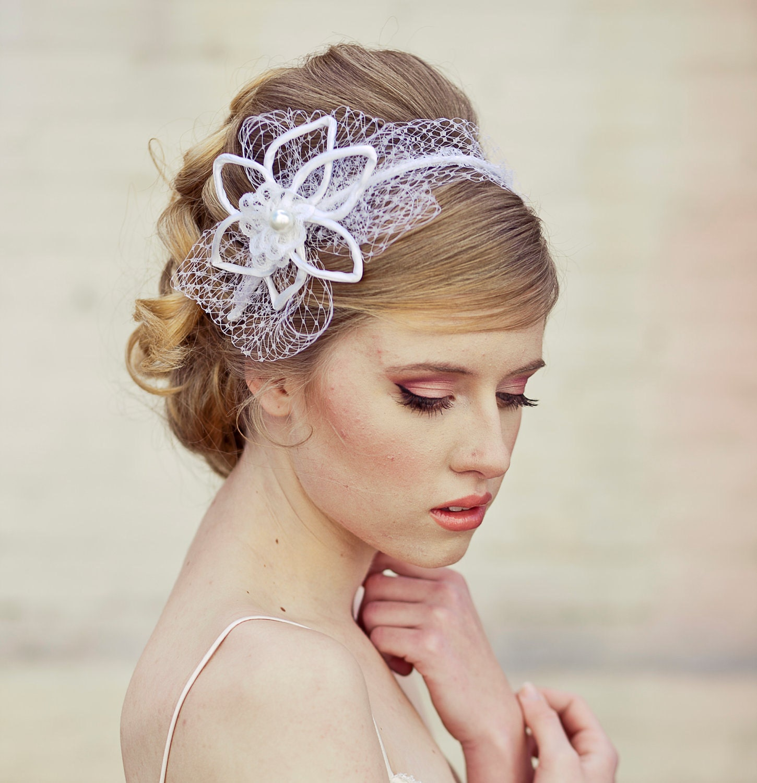 Wedding Veil Tie Headband Of Net And Vintage Flowers Wedding Hair Accessory Veils Bridal Veil ...