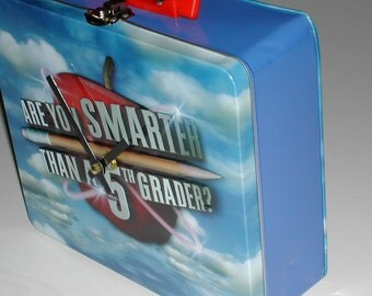 Clock - Recycled Lunch Box . . . Are You Smarter Than a 5th Grader. . . .