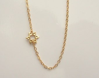 Tiny 14kt Gold Filled Star of David Necklace Set Off Center on a 14kt Gold Filled Chain
