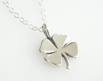 Four Leaf Clover Luck Necklace in Sterling Silver