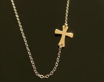 Sideways Cross Necklace Set Off- Center - 14kt Gold Filled