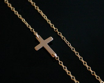 Sideways Cross Necklace - AS SEEN ON - 14kt Gold FIlled - Set Center or Off Center