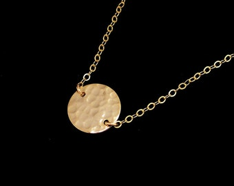 Tiny Gold  Hammered Disc Necklace on Gold Filled Chain