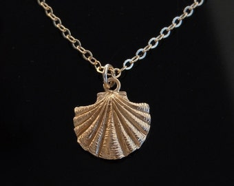 Gold Sea Shell Necklace in 18kt Gold on a 14kt Gold Filled Chain